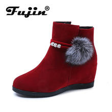 цены Fujin Hot Sale Women Natural Real Fox Fur Snow Boots Fashion Boots for Women High Quality Genuine Cow Leather Winter Ankle Boots