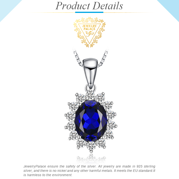 H2f694731599a4450813d0ecc2b4739e0f JewelryPalace Created Sapphire Pendant Necklace 925 Sterling Silver Gemstones Choker Statement Necklace Women Without Chain