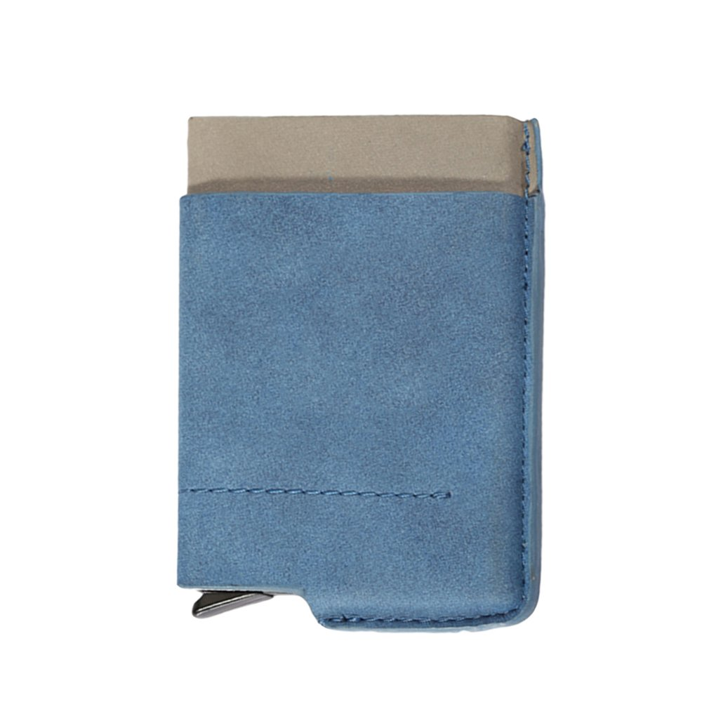 Blue High-Grade Leather Cards Holder Metal Stainless Steel Business Cards Box Business Gifts Small And Portable Card Holder