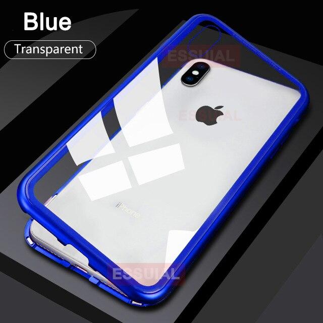 Металлический магнитный адсорбционный чехол для iPhone 7, 8, 6, 6s Plus, X, XR, закаленное стекло, задняя крышка на магните для iPhone 6, 6s Plus, X, XS, Max, чехол - Цвет: Transparent Blue