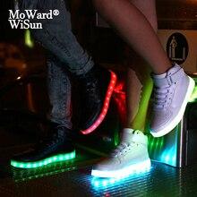Boyutu 25 42 USB şarj çocuk aydınlık Sneakers sepetleri LED parlayan ayakkabı ile Light Up taban çocuklar çocuklar için kızlar LED terlik