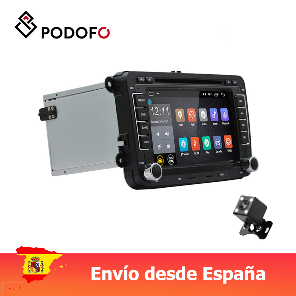 Pantalla Multimedia Podofo VEUR 2Din Android Audio DVD GPS compatibles con VW Golf Sharan con CANBUS image