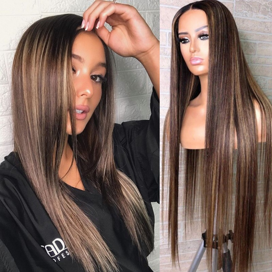 26Inches Highlights Silk Top Full Lace Human Hair Wigs Pre Plucked Hairline Silky Straight Lace Front 4x4 Silk Base Wigs