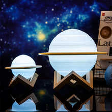 USB Rechargeable 3D Print Saturn Lamp Moon Lamp Moon Night Light with 2Colors 16Colors Remote Bedside lamp Home decor Lamparas