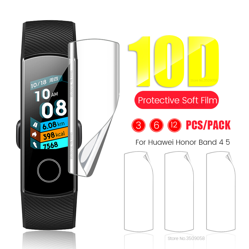 10D Full Cover Soft TPU Screen Protector For Huawei Honor Band 5 4 Hydrogel Protective Film Honer Band4 Band5,Not Tempered Glass