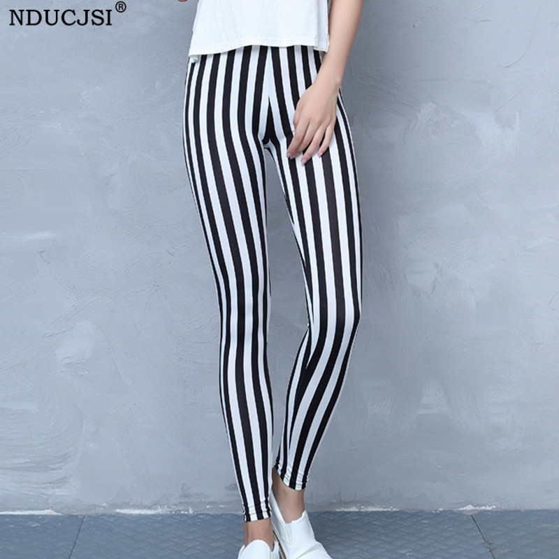 Printing Leggings Punk Women Legging Stretchy Trousers Casual Pants Femme Breathable Leggins Black White Striped Pants