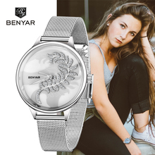 Benyar topo marca de luxo feminino relógio menina 2019 nova listagem simples relógios femininos relógio quartzo senhoras relogio feminino + caixa