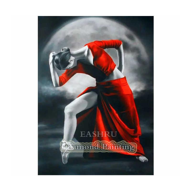 EASHRU Donna Ballerino Luna 5D FAI DA TE Disegni e schemi per puntocroce Piazza Piena di Punta di Diamante Del Ricamo Needlework Complementi Arredo Casa PT4549