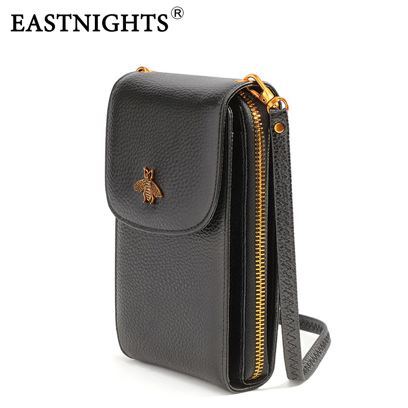 EASTNIGHTS Genuine Leather Small Crossbody Bags For Women Fashion Ladies Cell Phone Bag Black Flap Purses And Handbags