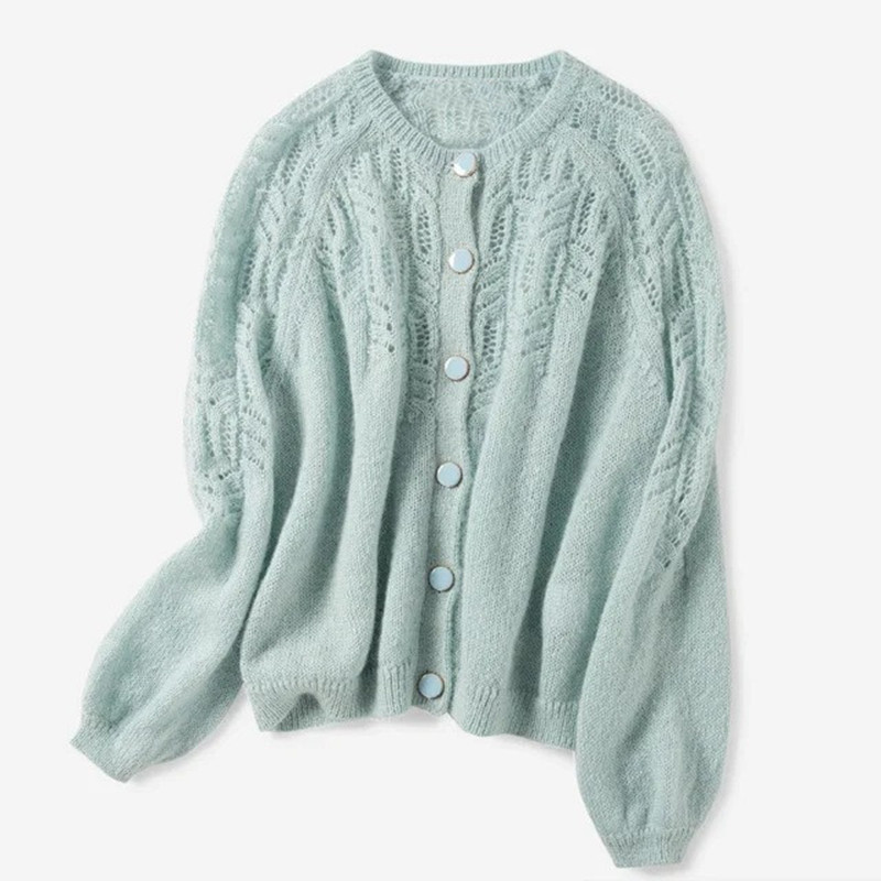 New Hollow Out Crochet Knitted Cardigan Women O Neck Sweater Solid Color Single Breasted Knitted Sweater Knitted Jacket