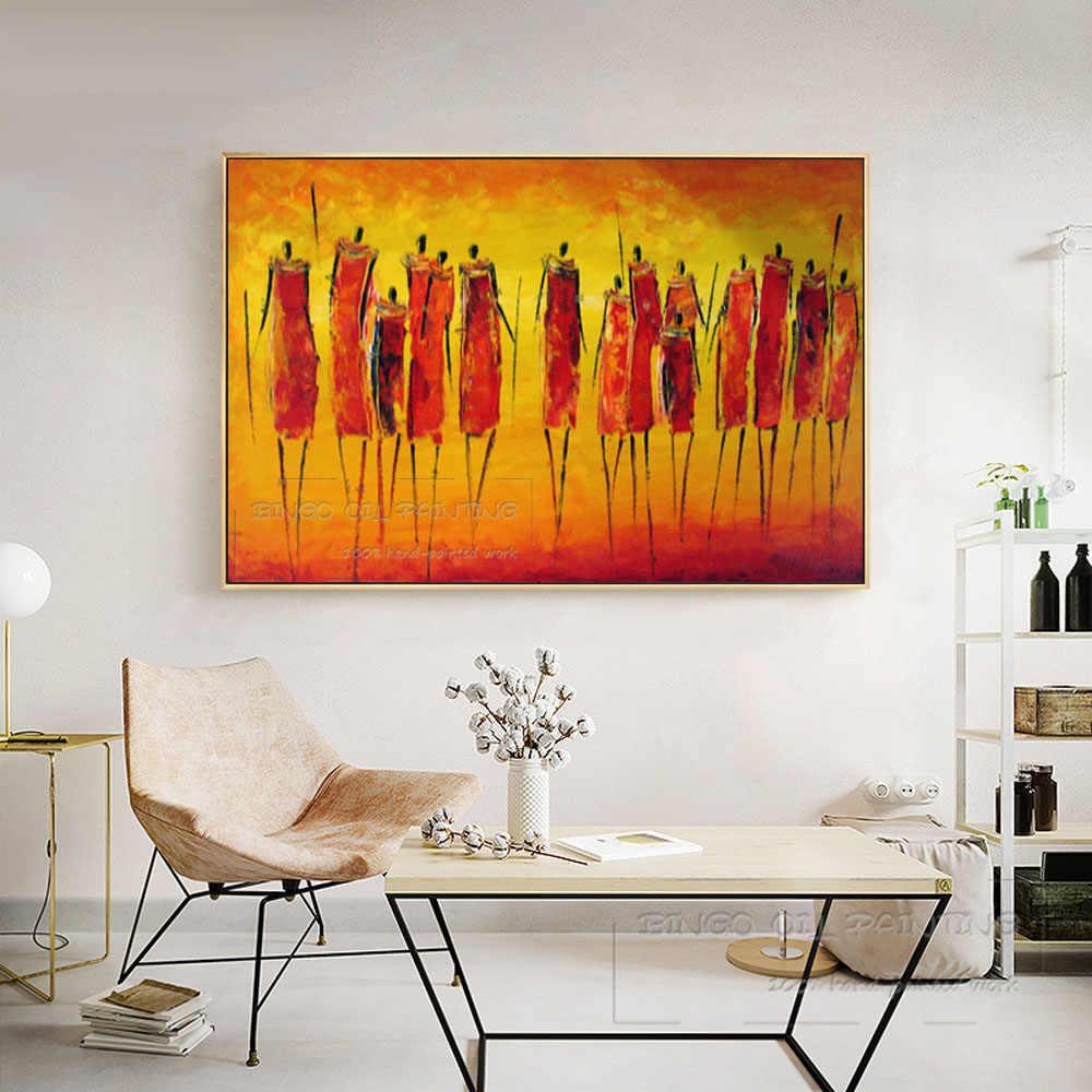 Ausgezeichnete Künstler Hand-gemalt Afrikanischen Zahlen Ölgemälde auf Leinwand Handgemachte Kunstwerk Afrikanische Person Ölgemälde für Wand Dekor
