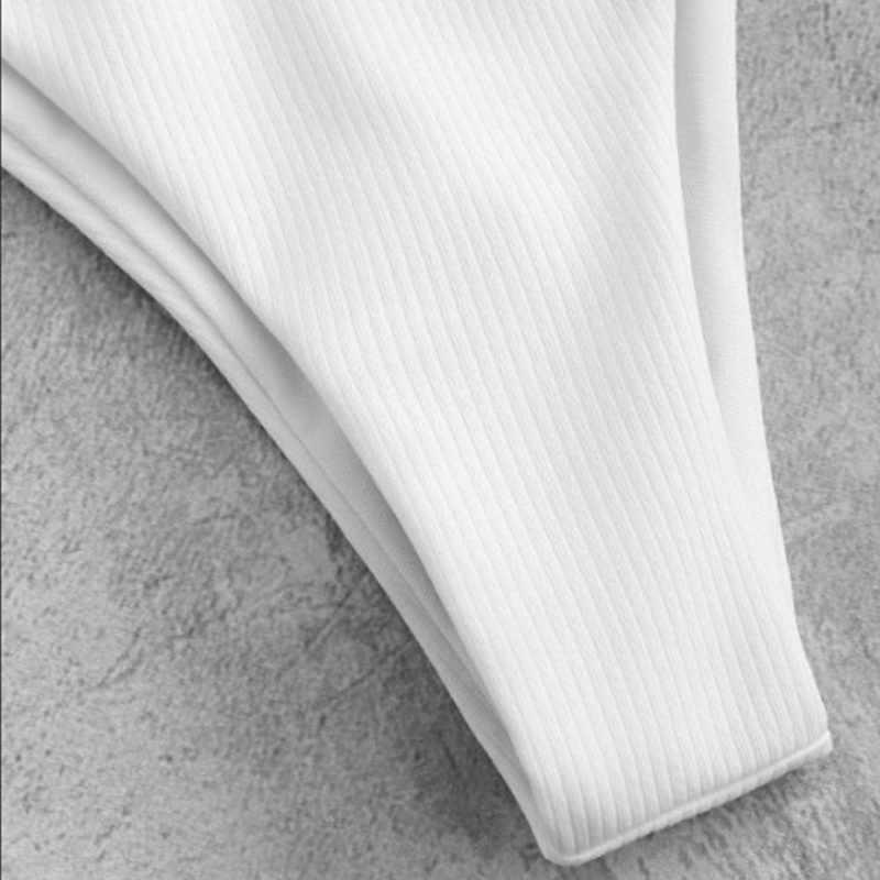 Wanita Dasi Depan Bikini Stripe Top dan Bottom Set Musim Panas Pantai Pakaian Renang Garis Padat Dua Potong Baju Renang Push Up Bikini set