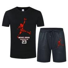 2021 moda nova marca masculina verão de alta qualidade algodão esportes camiseta + calções esportivos conjunto jordan-23 correndo hip hop fatos de treino