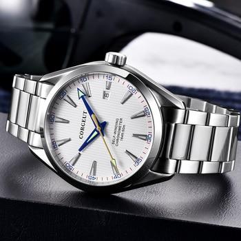 Corgeut 41mm men clock white dial Automatic Date calendar Mechanical Sapphire crystal men wristwatch luxury top brand
