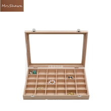 Mrs.Shawn big Linen handbag with glass cover jewelry ring display box tray rack storage box organizer earrings ring bracelet