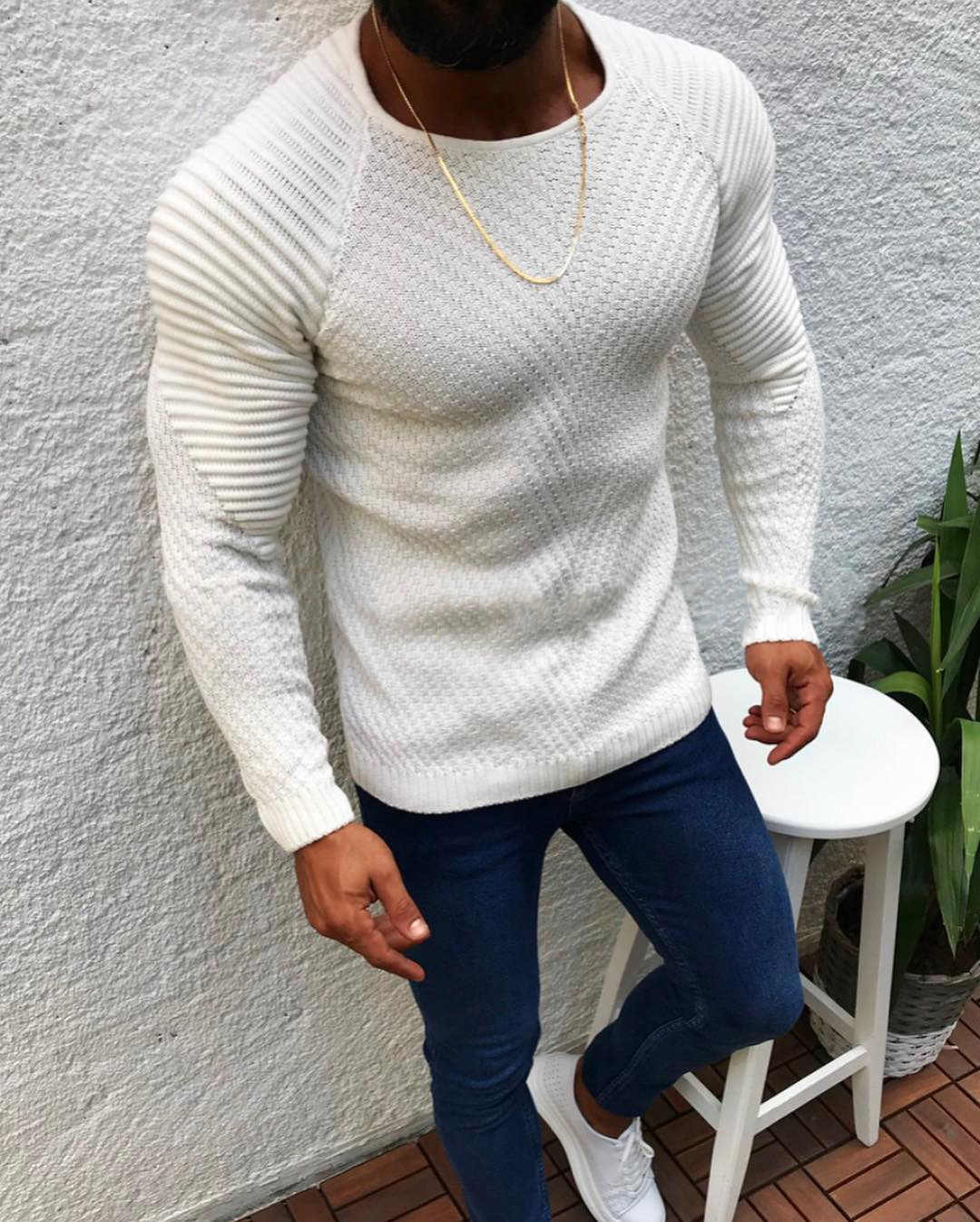 CYSINCOS Autumn Winter Sweater Men 2019 New Arrival Casual Pullover Men Long Sleeve O-Neck Patchwork Knitted Solid Men Sweaters