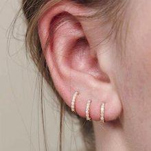 Luruixu 1Pcs 6Mm/8Mm/10Mm Kleine Hoepel Oorbellen Voor Vrouwen Mannen Goud Zilver Kleur eenvoudige Minimale Tiny Cz Kraakbeen Oor Piercing