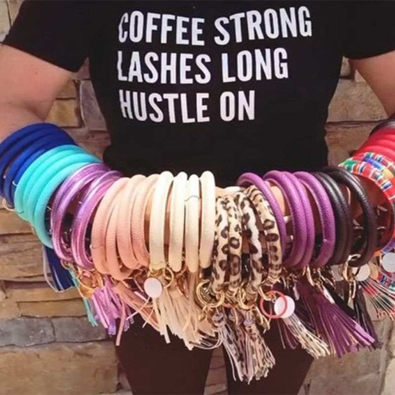 Keychain Bracelet O Key Leather Bracelet For Women Circle Keyring Tassel Wristlet Bangle
