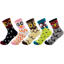 1pairs of winter new ladies owl stereo comfortable ear fashion cute cat paw imprint kawaii cotton socks
