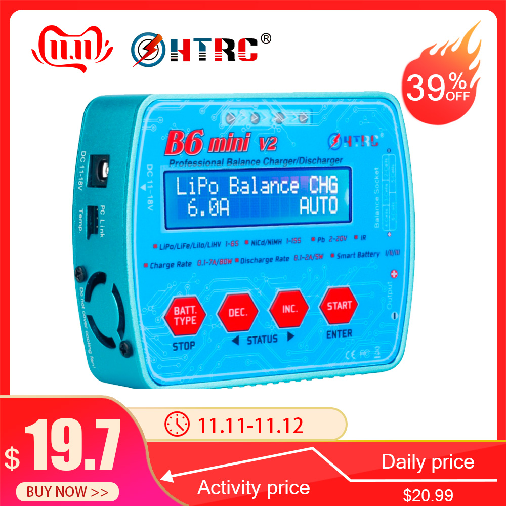 HTRC B6 Mini V2 80W 7A Digital RC Balance Charger Discharger For Lipo Lihv LiIon LiFe NiCd NiMH Battery AC Adapter Optional