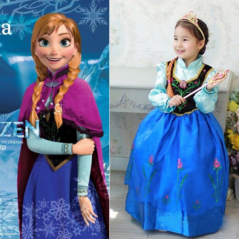 Girls Cartoon Elsa Frozen Dress Costume Princess Anna Party Cape Dresses Cosplay