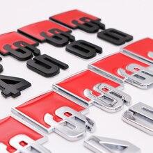 1 Uds 3D del coche de Metal de la etiqueta S RS emblema insignia calcomanías Decoración Accesorios para Audi A3 A4L A5 S3 S4 S6 S5 S8 RS3 RS5 Q7 Q3 SQ5
