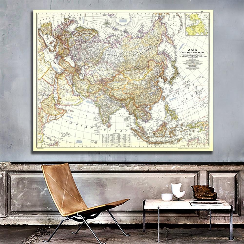 A2 Size 1951 Edition Fine Canvas Map Of Asia And Adjacent Areas For Office Classroom Wall Decoration