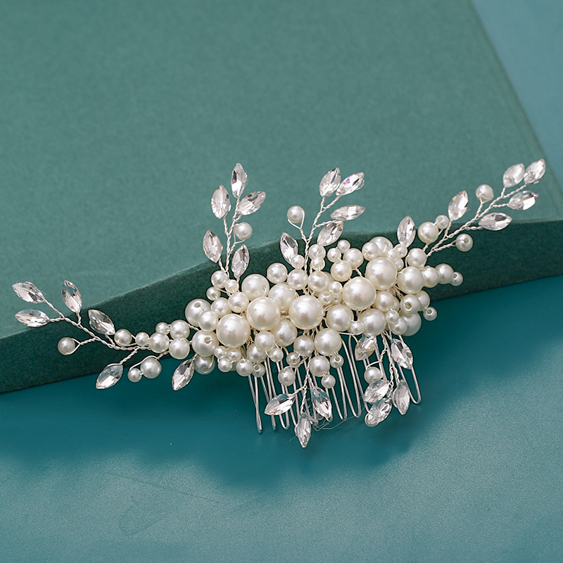 trendy hair combs hair accessories for wedding bridal headpiece silver handmade crystal pearl wedding ornaments hair