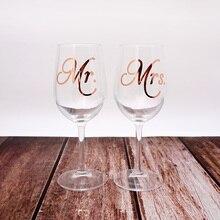 цена на 5 pairs Mr.Mrs. Engagement Party Wine Glass Sticker Wine Bottle Labels Wedding Anniversary Party Decor
