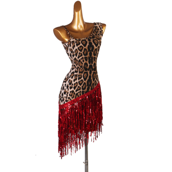 leopard print latin dress cha cha salsa tango dresss  Rhinestones Costume Stage dress custom  sequin tassel fringe lq165