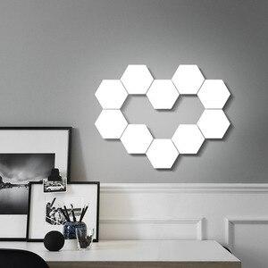Image 5 - קוונטי DIY מנורת מגע רגיש חיישן מודולרי משושה אור LED מגנטי אורות קיר מנורת חידוש Creative קישוט