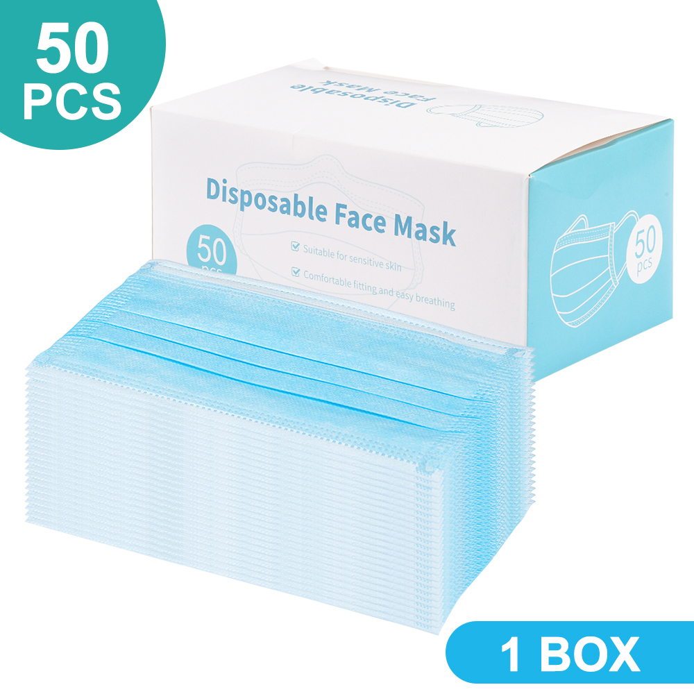 50 Pcs Disposable Mouth Mask Anti-Dust Nonwove 3 Layer Ply Filter Mouth Face Mask Earloop Face Cover Mask Safety Respirator