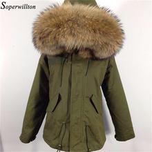 Женское пальто армейского зеленого цвета с длинным рукавом из натурального меха енота, парка с большим меховым воротником, Женская Толстая теплая хлопковая стеганая куртка с капюшоном