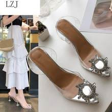 HOT 2019 Luxury Women Pumps Transparent High Heels Sexy Pointed Toe Slip-on Wedding Party Brand Fashion Shoes For Lady PVC(China)