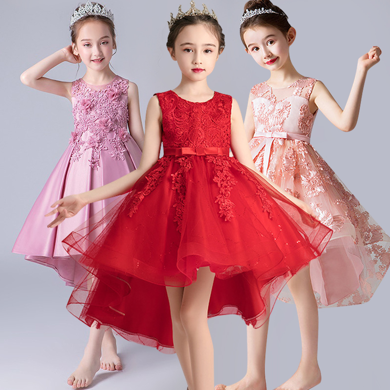 Girls'Campus Graduation Dance Party Tail Dress Flower Girls Wedding Bridesmaids' Tail Embroidered Banquet Bridesmaid Dress