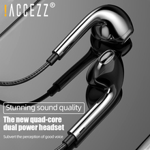 цена на !ACCEZZ In Ear Earphones 3.5mm Stereo Bass Wired Earphone Headset  Music Sport Volume With Mic For iPhone Samsung Huawei Xiaomi