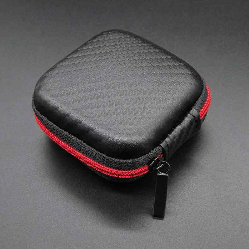 Portable Mini Zipper Square Hard Aseismic Moisture Proof Headphone Bag Storage Box Headset Case for SD TF Cards