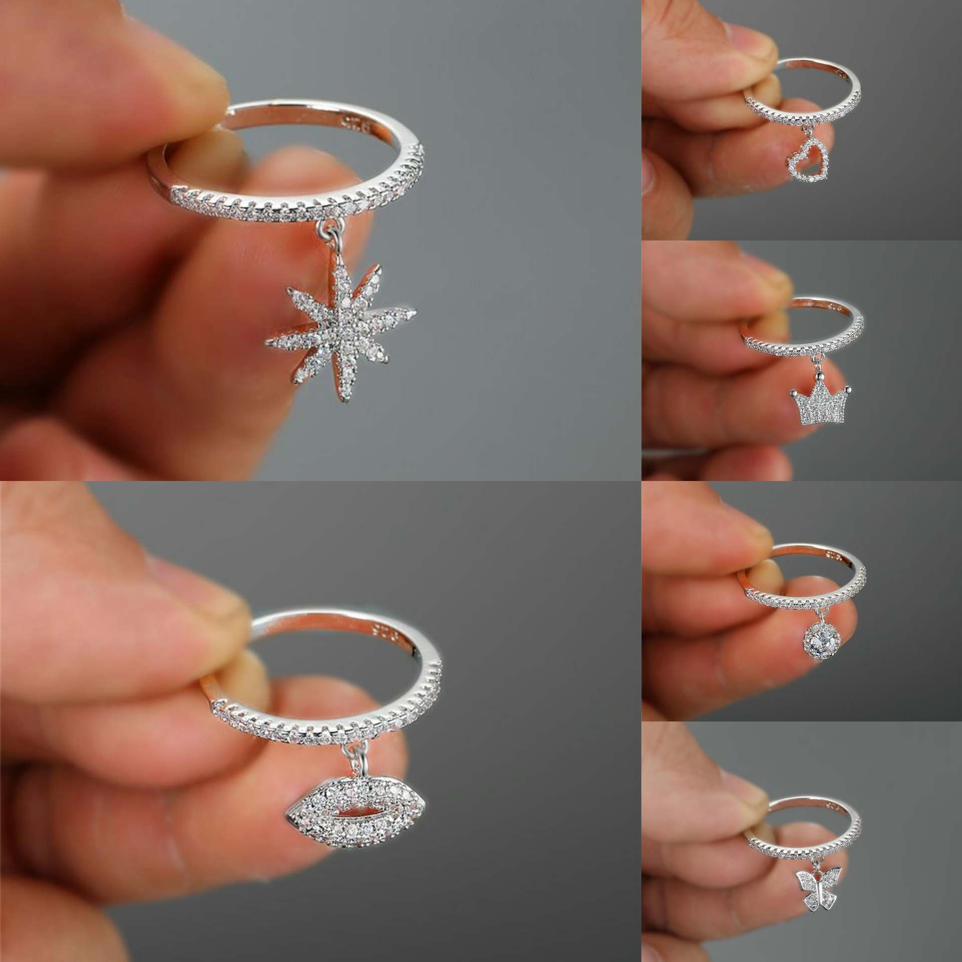 Cute Heart Crown Snowflake Dangle Ring Rose Gold Color Stacking Thin Rings For Women Wedding Bands Crystal Engagement Ring Cz