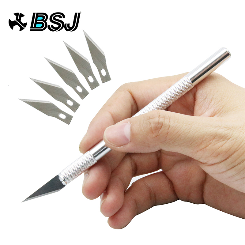 Non-Slip Metal Scalpel Knife Tools Kit Cutter Engraving Craft Knives + 5pcs Blades Mobile Phone PCB DIY Repair Hand Tools