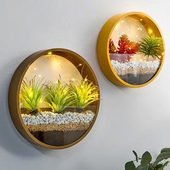 Creative Iron Art Transparent Glass Wall Vase Home Living Room Restaurant Office Wall Planter Succulent Plant Hanging Flower Pot