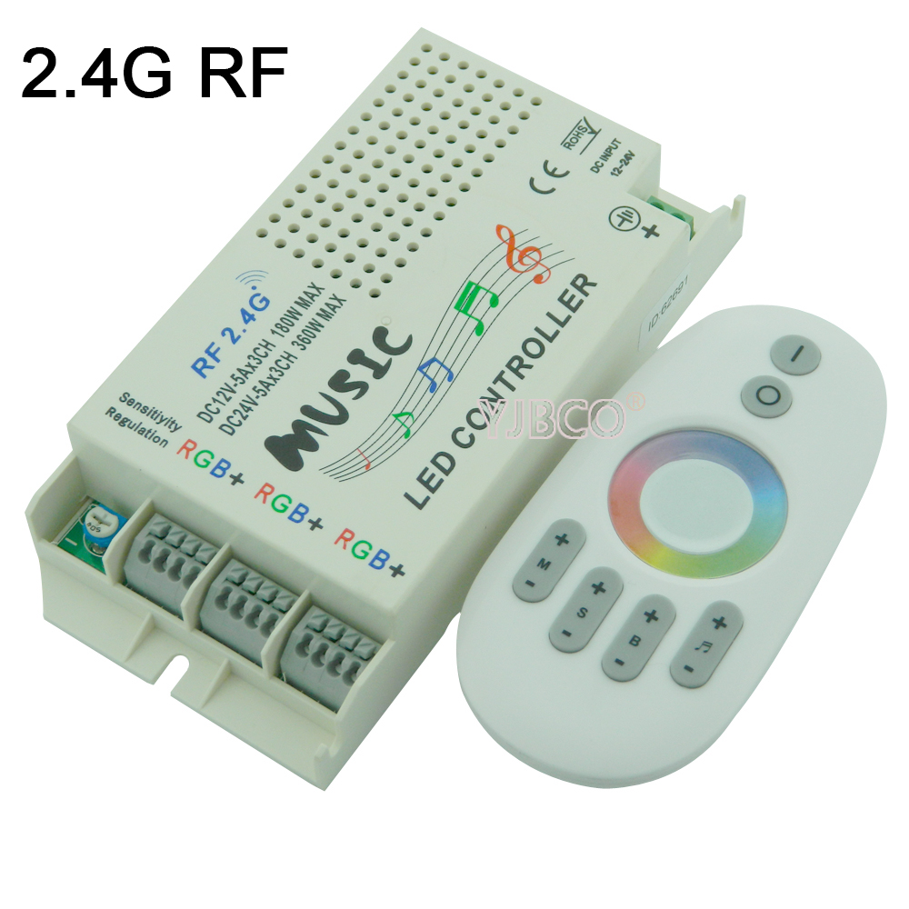 Music Sound LED Controller 3 CH 9A&24key IR Remote;2.4G Music RGB Controller DC12V-24V& RF Remote For Led Strip Light