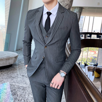 Suit three suits men's British slim stripe single-breasted business suit small suit men groom wedding dress tide