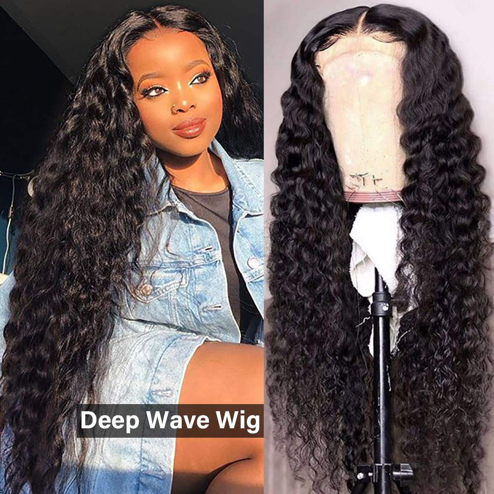 4x4 Lace Closure Human Hair Wigs Deep Curly Wave Wigs Peruvian Human Hair Pre-Plucked Lace Wigs For Black Women 8