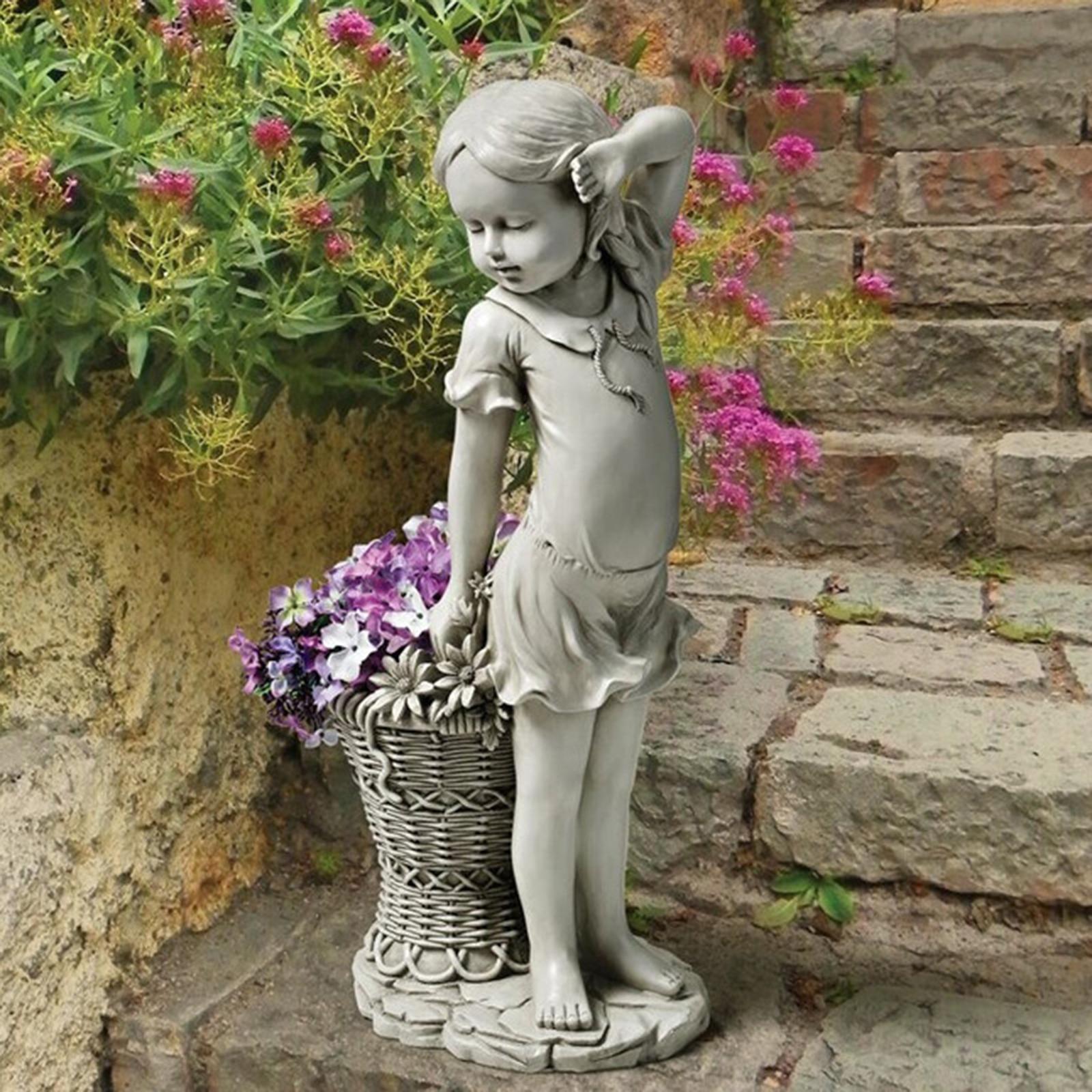 Цветок садовая статуя девушки Скульптура ребенка фигурка ящик для комнатных растений, корзина для газона украшение на открытом воздухе шла...