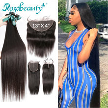 Rosabeauty 8  28 30 32 inch Brazilian Human Hair Weave Remy Natural Straight 3 4 Bundles With 5x5 Lace Closure and 13x4 Frontal