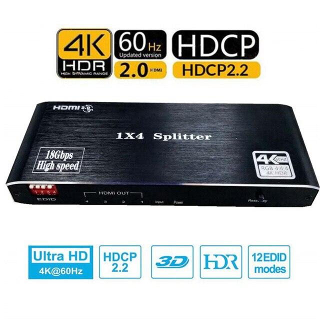 HDMI dağıtıcı 1 4 Out HDMI 1x4 Port 4K @ 60hz HDMI 2.0b tam Ultra HD 1080P, 3D, HDCP2.2 18Gbps, HDR, EDID Xbox