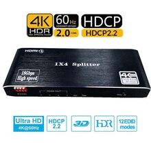 Hdmi スプリッタ 4 で 1 アウト hdmi 1 × 4 ポート 4 18k @ 60 60hz の hdmi 2.0b フル超 hd 1080 p 、 3D 、 HDCP2.2 18 5gbps の、 hdr 、 edid xbox