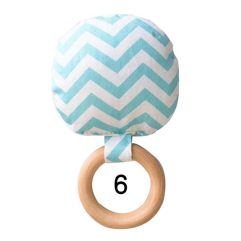 Портативный для новорожденных Детское Зубное кольцо жевательные Прорезыватель для зубов ручной безопасная, из дерева натуральное кольцо молочных зубах упражняющая игрушка в подарок - Цвет: F