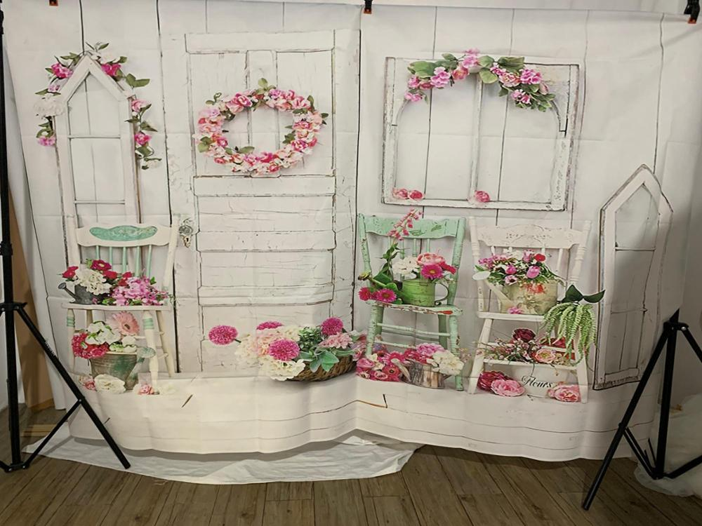 Image 4 - Photography Backdrop Children Balcony Bright Flowers Wreath Basket Chairs Wood Wall  Background Photo Studio Photobooth-in Background from Consumer Electronics