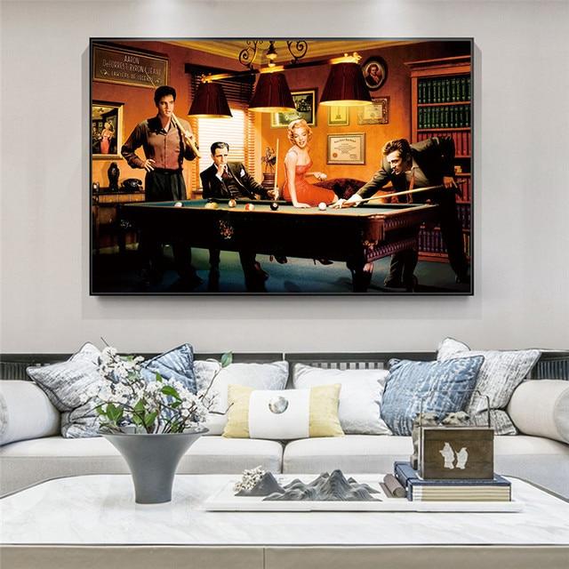 Elvis Presley, Humphrey Bogart, Marilyn Monroe & James Dean Playing Billiard 3